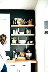 kitchen storage shelves black and white with butcher block open wall shelf ideas sto