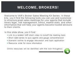 Sales Meeting Topic Welcome To Vars Broker Sales Meeting Kit Series In These