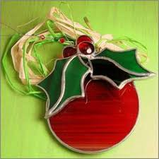 Made in Ireland - Stained glass Christmas Bulb Round 3 D Holiday Ornament  Red.