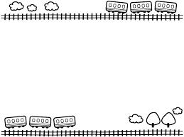 電車と線路と雲の上下白黒フレーム飾り枠イラスト 無料イラスト