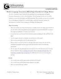 Mla Formatted Writers Checklist For Mla 8 Format By Germanna Community College