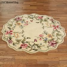 spring garden round rug beige