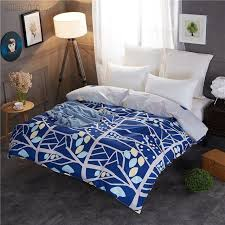 whole quilt cover 1 pc winter blue tree printed duvet cover polyester cotton comforter case