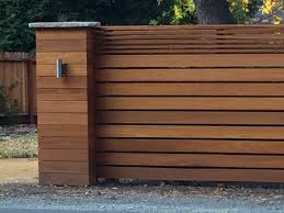 Contemporary fence and pillar in Danville, CA using horizontal slats