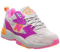 New Balance 608 Trainers <b>Grey Pink Orange</b> - Hers trainers