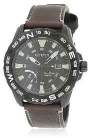 details about citizen eco drive leather mens watch aw7045 09e