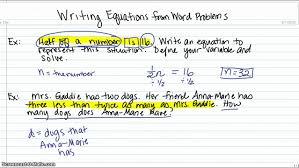 writing equations from word problems you