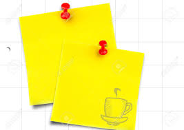 Digital Composite Of Yellow Sticky Notes With Coffee Doodle Against