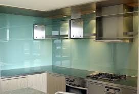 kitchen glass backsplash. Light Blue Glass Backsplash For Kitchen With Stainless Steel Cabinets | Decolover.net T