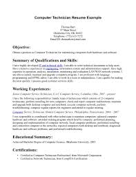 Computer Technician Resume Objectives Sample Exampl Computer