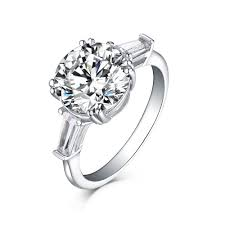 Tinnivi Sterling Silver Tapered Baguette Created White Sapphire 3 Stone Engagement Ring