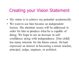 my vision statement sample presented by mrs ellis wilder waite elementary schools ppt