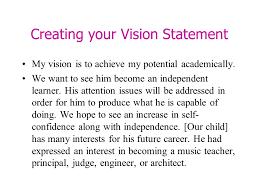 my vision statement sample presented by mrs ellis wilder waite elementary schools ppt