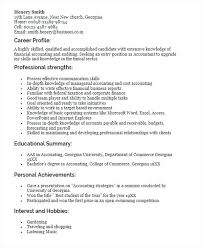 Resume Profiles Examples Resume Sample For Fresh Graduate Accounting