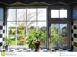 Garden Kitchen Windows Kitchen Window Garden View Plants Stock Photo Image 45254593