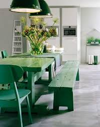 large rustic dining room table. Rustic Dining Area With Large Table Green Color Bench And Big Pendant Lamp Image Room