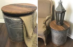 metal drum table. Salvage Metal Drum Table With Wood Top / Vintage Industrial