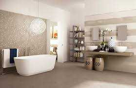 bathroom: Impressive Hanging Lamp Placed Above Bath Up At Spacious Bathroom  Which Is Decorated With