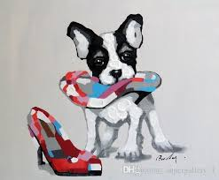 best framed boston terrier puppy dog and shoe genuine handpainted modern cartoon animal pop art oil painting canvas museum quality multi size j57 under