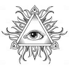 Vector All Seeing Eye Pyramid Symbol In Tattoo Engraving Design