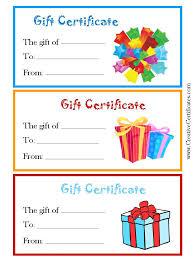free editable gift certificates