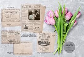 Wedding Invitation Newspaper Template Newspaper Digital Wedding Invitation Suite Vintage Antique Romantic Wedding Invitation Unique Editable Template Instant Download Ws11
