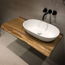 oak slab bathroom tops earthy timber