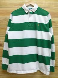 old clothes long sleeves rugby shirt ralph lauren ralph lauren green green horizontal stripe large size