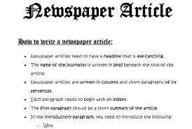 Writing A Newspaper Article Shop How To Write A Newspaper Article With A Marking