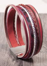 picture of leather cuff bracelet cranberry