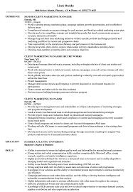 Client Marketing Manager Resume Samples Velvet Jobs