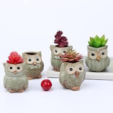 owl office decor. 5Pcs Cute Owl Ceramic Succulent Planter Miniature Flower Plant Pots Office Decor G