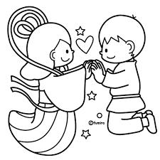手をつなぐおり姫とひこぼしのイラストぬりえ Preschool 織姫