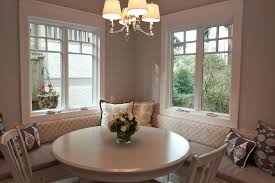 neutral cream dining room with round table also decorative banquette round table with banquette seating best