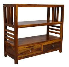 timbertaste eva 2 draw display unit book shelf solid wood semi open book shelf natural teak wood finish at best s in india mcjbazaar
