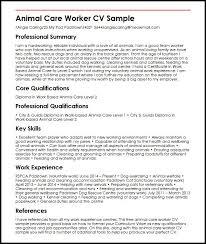 Write A Curriculum Vitae Fascinating Animal Care Worker CV Sample MyperfectCV