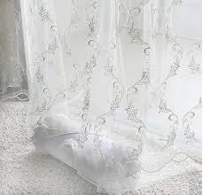 customized fashion design white embroidered sheer door window screening hook style organza day curtain tulle