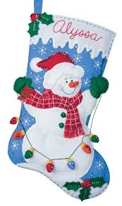 snowman christmas stockings. Simple Snowman Bucilla Felt Applique Christmas Stocking Kit Snowman With Lights Inside Stockings