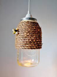 mason jar pendant light with rope