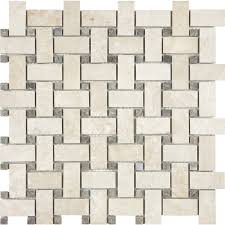 allen roth crema luna polished basketweave mosaic marble wall tile common 12
