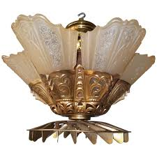 Attractive Art Deco Signed Edwin Guth Ceiling Fan Consolidated Glass Slip Shade  Fixture For Sale