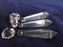3 antique cut glass crystal prisms with connectors chandelier parts suncatchers