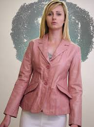 inthe las pink leather blazer jacket