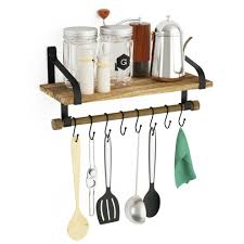 love kankei wall shelves for kitchen rustic wood kitchen organizer with wood rail and 8 removable hooks for organize cooking utensils multi use on
