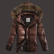 Moncler Down Jackets Men Zip Raccoon Fur Collar Brown,moncler polo shirt, moncler cheap,newest collection