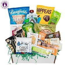 healthy vegan snacks care package mix of vegan cookies protein bars chips