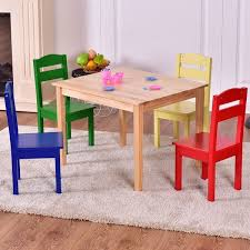 kids play room furniture. Costway Kids 5 Piece Table Chair Set Pine Wood Multicolor Children Play Room Furniture