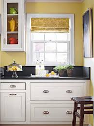 color schemes for kitchens with white cabinets. Crisp White Cabinets Paired With Dark Stone Countertops And Warm Yellow Wall Color Schemes For Kitchens H