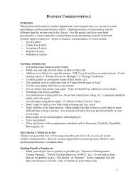 Business Correspondence Resume Email