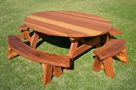 random 2 round wooden garden table bench
